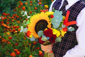 english school child holding flowers