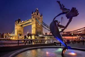 London bridge and dolphon jumping thru a hoop