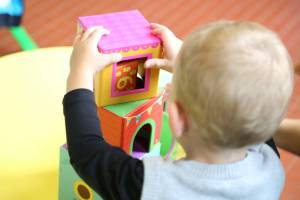 child playing at a day care center