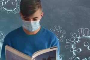 young man with a mask on reading a book, coronavirus depictions around