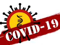 depcition of virus with covid-19 written on it